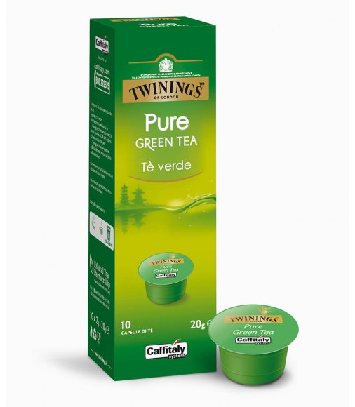 10 Capsule Twinings PURE GREEN TEA Sistema Caffitaly System