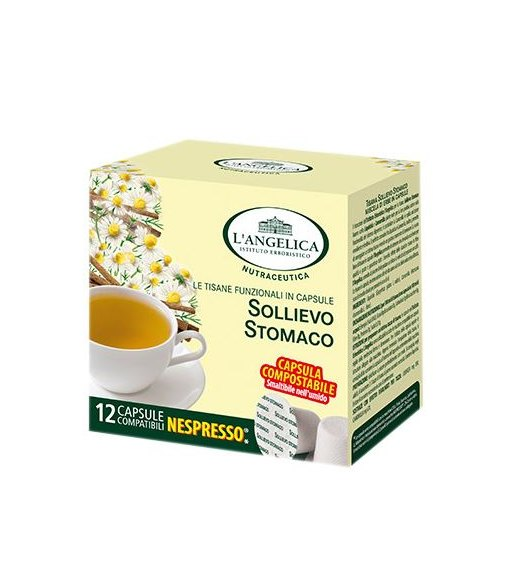12 Capsule TISANA SOLLIEVO STOMACO L'Angelica Compatibile Nespresso