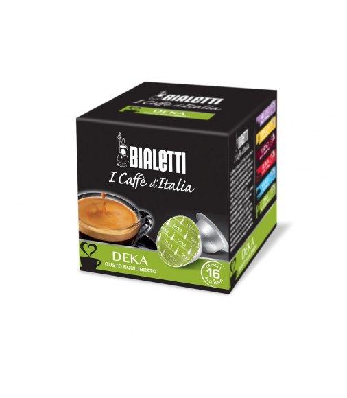 Box 16 Capsule BIALETTI i caffè d'italia DEKA gusto equilibrato