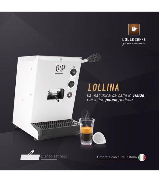 Macchina LOLLINA BIANCA per cialde filtrocarta 44mm ESE + 40 Cialde Don Diego omaggio + 40 Cialde Lollo Caffè Omaggio